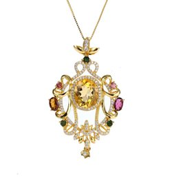 China gemstone fine jewelry factory wholesale new design yellow citrine blue topaz 925 sterling silver crystal pendant necklace cheap yellow topaz jewelry suppliers