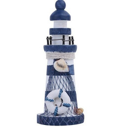 China Nautical Wood Wooden Lighthouse Beacon Tower Beach Starfish Shell Home Room Bedroom DIY Decorative Crafts Ornament Gift cheap starfish ornaments suppliers