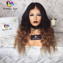 Virgin Brazilian Human Hair Wigs NZ - Front Lace Wigs Natural brazilian Human Virgin hair ombre two tone 1b 30 27 golden brown blonde wigs unprocessed natural hairline wigs USA