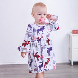 060757b362 Baby Girls Christmas Dress Children Elk Deer Printed Xmas Long Flare Sleeves  Dress 2018 Fashion Boutique Kids Autumn Clothing