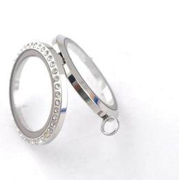 $enCountryForm.capitalKeyWord Australia - Fashion 30mm Rhinestone Round Floating Memory Locket Necklace Round Living Magnetic Glass Lockets Necklaces Wholesale