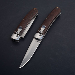 Cheap folding poCket knives online shopping - Cheap Price Auto Tactical Folding Knife C Satin Drop Point Blade Wood Handle EDC Pocket Knives With Nylon Bag