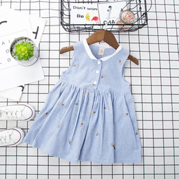 Flower girl dresses small online shopping - Girls Floral Cartoon Dress Sleeveless with Small Flowers Striped Skirt Stripes Buckles Cotton Summer Dress T