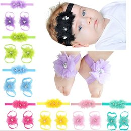 Set Barefoot Shoes NZ - Infant Sandals Shoes Cover Barefoot Foot Flower Ties Baby Girl Kids First Walker Shoes Flowers Headband Set Photography Props 16 Colors A142