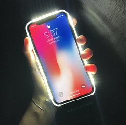 5ad3d57551b Resplandor de luz para iPhone 6 6S 7 Plus 5 s Flash Selfie Light Up Funda  de teléfono de lujo brillante para Apple i Teléfono 5s 6s 7s más iphoneX