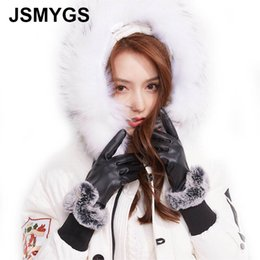 $enCountryForm.capitalKeyWord NZ - JSMYGS Leather Gloves Women Winter PU Touched-screen Plus Velvet Warm Full Finger Mittens Elegant Driving Wrist Fur Glove Luvas