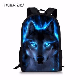 Chinese  TWOHEARTSGIRL Wolf Print Schoolbags for Children Cool Student Kids Bookbags infantil Animal Teenager Girls School Bag manufacturers