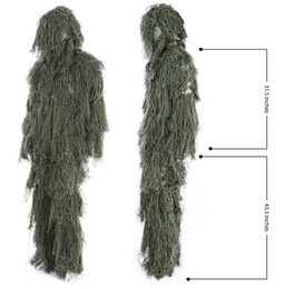 Hunting Ghillie Suit Set 3D Camo Bionic Leaf Camouflage Jungle Woodland Poncho Manteau Durable Hunting Poncho PO06 on Sale