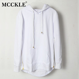 Mens hooded long sleeve t shirt online shopping - Solid Mcckle British Style Mens Hooded T Shirt Hipster Hip Hop Streetwear Gold Side Zipper Men Extended Arc Cut Long Sleeve Tees
