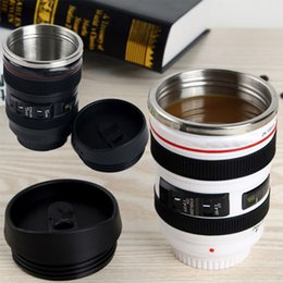 white camera cup NZ - 400ml Camera Lens Coffee Mugs New Stainless Steel Liner Tea Cup 5 Generation Tumbler Travel Mug SLR Lens Bottle Novelty Gifts HH-C23