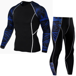 Free Running Clothing UK - Men's Fashion Running Training Basketball Fitness Suit Long-sleeves Tights Clothing Set Sports Tight Suit for Free Shipping