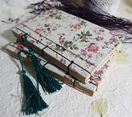 Stationery crayonS online shopping - Vintage Handmade Line Up Cloth Notebook Crayon Cute Rose Flower Notepad Creative School Office Stationery