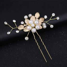 Discount gold vintage hair pins - Gold Flower Leaf U shape Hair Sticks Pearl Clip Vintage Pins Wedding Hair Accessories Crystal Rhinestone Bridal Head Pie
