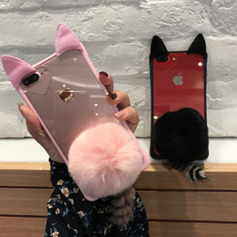 $enCountryForm.capitalKeyWord Australia - YunRT Cute Cartoon 3D Cat Ear Tail Fluffy Transparent Case For iPhone X XS MAX XR 6 6S 7 8 Plus Back Cover With Plush Fur Ball