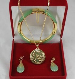 Light Green Jewelry Sets NZ - Free Shipping noble 7.5' light green Jades bracelet, earings, and gp dragon inlay pendant jewelry sets for party and wedding
