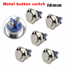 Chinese  5pcs Waterproof Momentary Push Button Switch 16mm 3A 250V Stainless Steel Metal Car Motorcycle Horn Auto Reset manufacturers