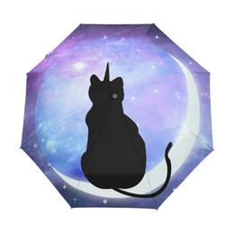 $enCountryForm.capitalKeyWord UK - Cartoon Cute Galaxy Cat on the Moon Three Folding Umbrella 8 Rib Pongee Wind Resistant Frame with Inner Black Coating for Women