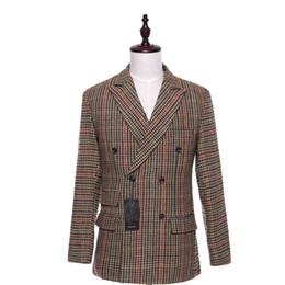 $enCountryForm.capitalKeyWord UK - New Men Suit Jacket Plaid Fabrics Double Breasted Casual Men Coat Blazer Cotton Slim England Masculino Male Jacket Size XS-4XL