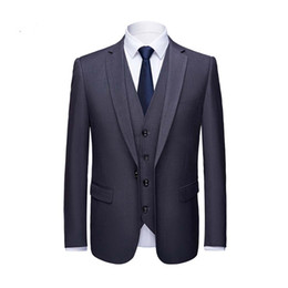 green men s fitted suit UK - Gray Trim Fit Wedding Groom One Button Dinner Party Notched Collar Men Suits Three Pieces (Jacket+Vest+Pants)