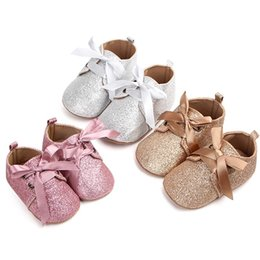 Glitter Bling Baby Australia - 1 Pair Toddler Shoes Glitter pink sliver gold princess shoes cute baby girl soft bottom anti-skid