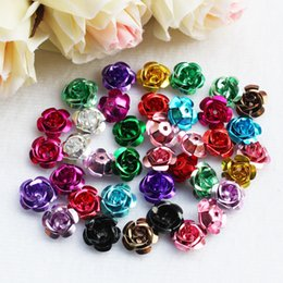 White Pink Mix Rose Flower Australia - 100 Pieces Mixed Color 15 mm Diameter Aluminum Rose Flower Tiny Metal Beads For Jewelry Making