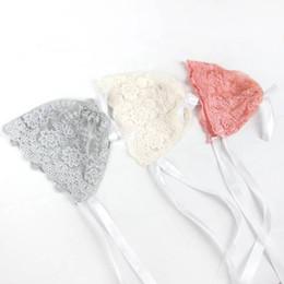 Newborn Flower Hats Australia - Newborn Baby Photography Lace Hat Strap Cute Cotton Cap Bonnet Beanie Flower Sun Hat Color: White, Gray, Pink