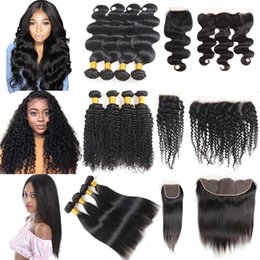 Wholesale Cheap Brazilian Virgin Hair Bundles with Closures Straight Deep Water Body Wave Kinky Curly Human Hair With Closure and Lace Frontal Weaves