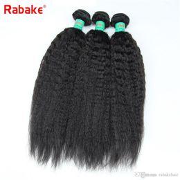 $enCountryForm.capitalKeyWord Australia - Brazilian Virgin Hair Kinky Straight 3 4 Bundles Rabake 1B Natural Black Color 100% Unprocessed Virgin Coarse Yaki Hair Bundle Deals