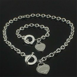Wholesale Christmas Gift 925 Silver Love Necklace+Bracelet Set Wedding Statement Jewelry Heart Pendant Necklaces Bangle Sets 2 in 1