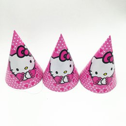 2fa7e7af4e0d 6PCS LOT KITTY MOUSE PAPER HATS BABY SHOWER HELLO KITTY MOUSE PAPER CAPS BIRTHDAY  PARTY FAVORS KITTY MOUSE PARTY HAT