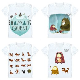 $enCountryForm.capitalKeyWord Canada - Shaman's Quest Toonbox Studio T-Shirts Short Sleeve Shirts Anime Manga Eskimo guy Took giant pelican snowman Cosplay Shirt