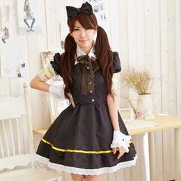 lolita dresses for cosplay NZ - free shipping anime uniforms black lolita dress Cosplay Costumes for girls