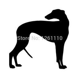 Discount dog rear window sticker - HotMeiNi Wholesale 20pcs lot Greyhound Dog Decal 8 Colors vinyl sticker For Car Wheelie Bin SUV Truck Boat Window Bumper