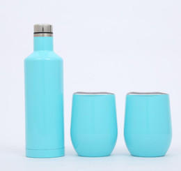 bottle lights UK - 500 ML Stainless Steel Wine Cups 304 Outdoor Thermal Water Bottle Insulate Vacuum Hip Flasks Light Blue