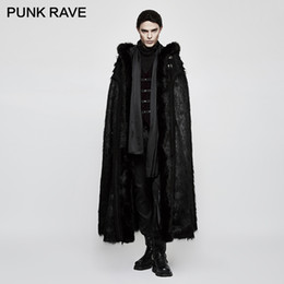 fc0383e279bce PUNK RAVE Gothic Witch Langer Fledermaus Pelzmantel Halloween Black Knight  Luxus Männer Langer Pelzmantel mit Kapuze Imitation Wollgras Stoff