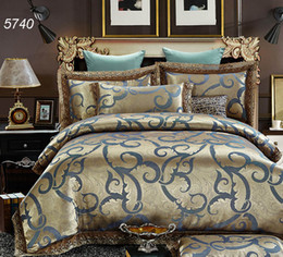 Comforter Silk Lace Canada - Modal blue golden silk bedding sets tencel lace comforter cover pillowcases cotton bed sheet luxury home textile pretty 5740