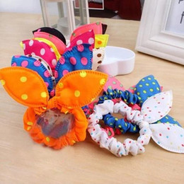Rabbit Hair Ponytail Australia - New Rubber Bands Hair Ties Headbands Women Polka Dot Elastic Hair Bands Rabbit Ears Scrunchy Girls Hair Accessories Hairband