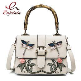 New fashion embroidery flower animal pattern bamboo handle pu leather  female totes shoulder bag handbag crossbody messenger bag 7ecd007eacdee