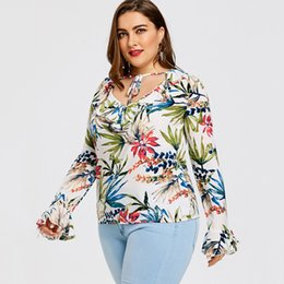 $enCountryForm.capitalKeyWord UK - Ruffle Tropical Print Plus Size Blouse Women V Neck Long Sleeves Women Tops And Blouses Big Size 5XL Casual Blusas Mujer