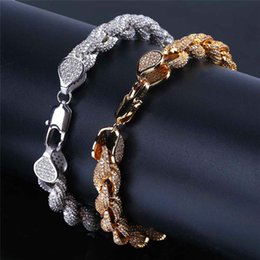 Snake Chain Jewellery Australia - Ice Out Hip Hop Bracelet Men Luxury 2019 Brand Jewellery 18K Gold Plated Hiphop Jewelry Bling CZ Miami Cuba Link Chain 8mm