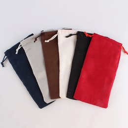 drawstring pouch 18cm UK - 100pcs lot 9*18cm Double Side Suede Bag Custom Print Pouch Drawstring Bags For Jewelry earring ring Wholesale price