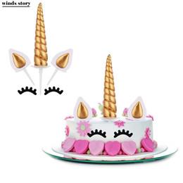 Birthday Party Cupcakes Australia - Unicorn Cake Toppers Unicornio Horn Ears Cake Decorations Cupcake Toppers Baby Birthday Party Decorations Baking Tools