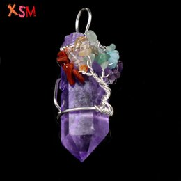 $enCountryForm.capitalKeyWord Australia - xinshangmie Silver Plated Irregular Shape Natural Crystal Purple Handmade 7 Chakra Crushed Stone Wire Wrapped Pendant Jewelry