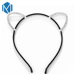 Shiny black hair online shopping - M MISM PC Korean Exquisite Shiny Rhinestones Cat Ear Hairband Children Girl Black Hollow Lovely Head Hoop Hair Accessories