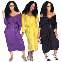 4fc17bbaca2 Summer Women Midi Dress NEW Font Zipper Fashion Ladies Long Sleeve Dresses  Casual Loose Vestidos Robe Femme Plus Size