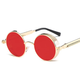 c006b55cbfe3 Drop shipping Gothic Steampunk Round Metal Sunglasses Men Women Mirrored  Circle Sun glasses Brand Designer Retro Vintage NE60