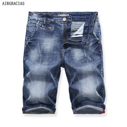 Wholesale bermuda shorts sale online – AIRGRACIAS Hot Sale Mens Ripped Short Jeans Brand Clothing Bermuda Summer Cotton Shorts Breathable Retro Denim Shorts X322