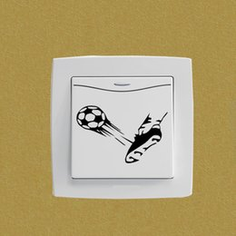 soccer shoes wholesale 2019 - Ball Kick Shoe Soccer Sports Bedroom Switch Decal Decor Wall Sticker 5WS0754 cheap soccer shoes wholesale