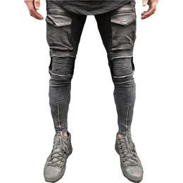 Hip Hop Stretch Pants NZ - Jeans Men 2018 New Autumn Fashion Pocket Stretch Skinny Men Jeans Streetwear Hip-Hop Knee Ripped Biker Motorcycle Pants Homme