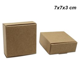 card box kraft NZ - 7x7x3 cm 30 Pieces Brown Kraft Paper Card Board Gift Storage Packaging Boxes Kraft Paper Chocolate Candy Boxes for Jewelry DIY Handmade Soap